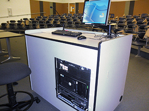 Power Podium with Extron Cable Cubby 200, MLC 226 IP MediaLink Controller and MLS 102 VGA MediaLink Switcher