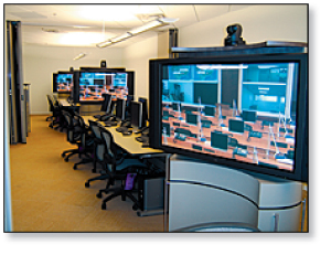 Combined meeting rooms in Building 21 are designed around Extron routing and distribution hardware