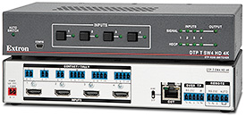 Extron Introduces New Four Input HDMI Switcher for 4K Video with Integrated DTP Transmitter