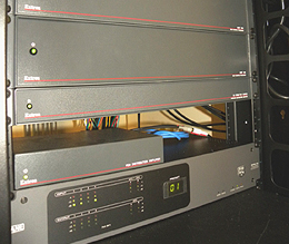 Equipment Rack with Extron P/2 DA4xi and DA4 RGBHV Distribution Amplifiers and WindoWall Processors
