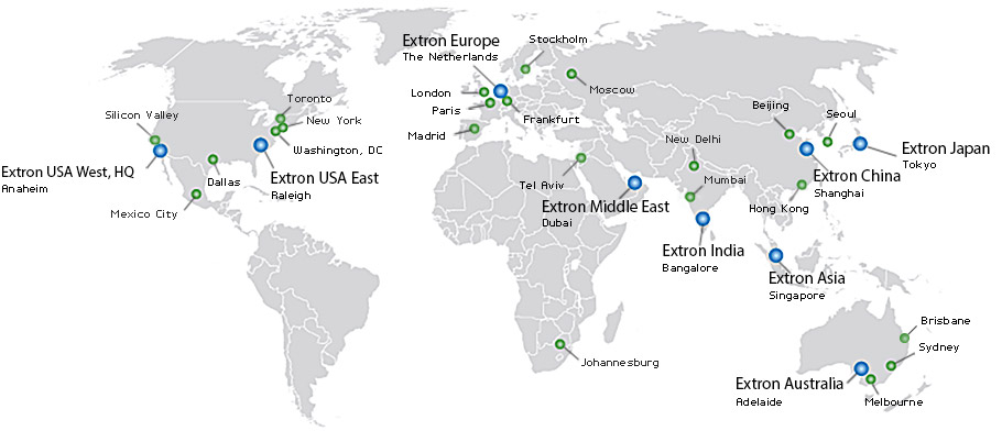 Contact Us Extron - Mid east usa map