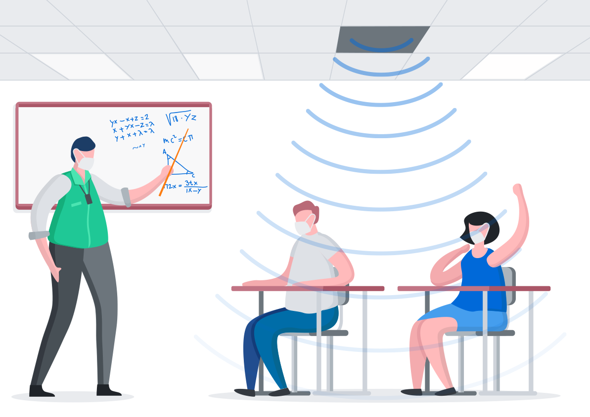 Illustration of students under the Flat Filed Speaker sound waves.
