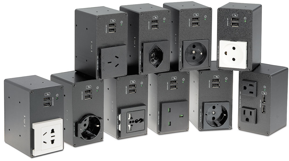 AC+USB 200 Series power outlets available for US, Europe, and other major world markets