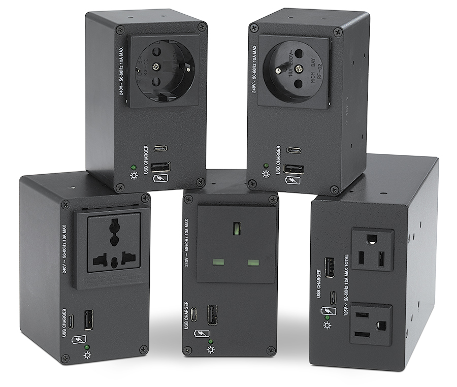 AC+USB 300 Series power outlets available for US, Europe, and other major world markets