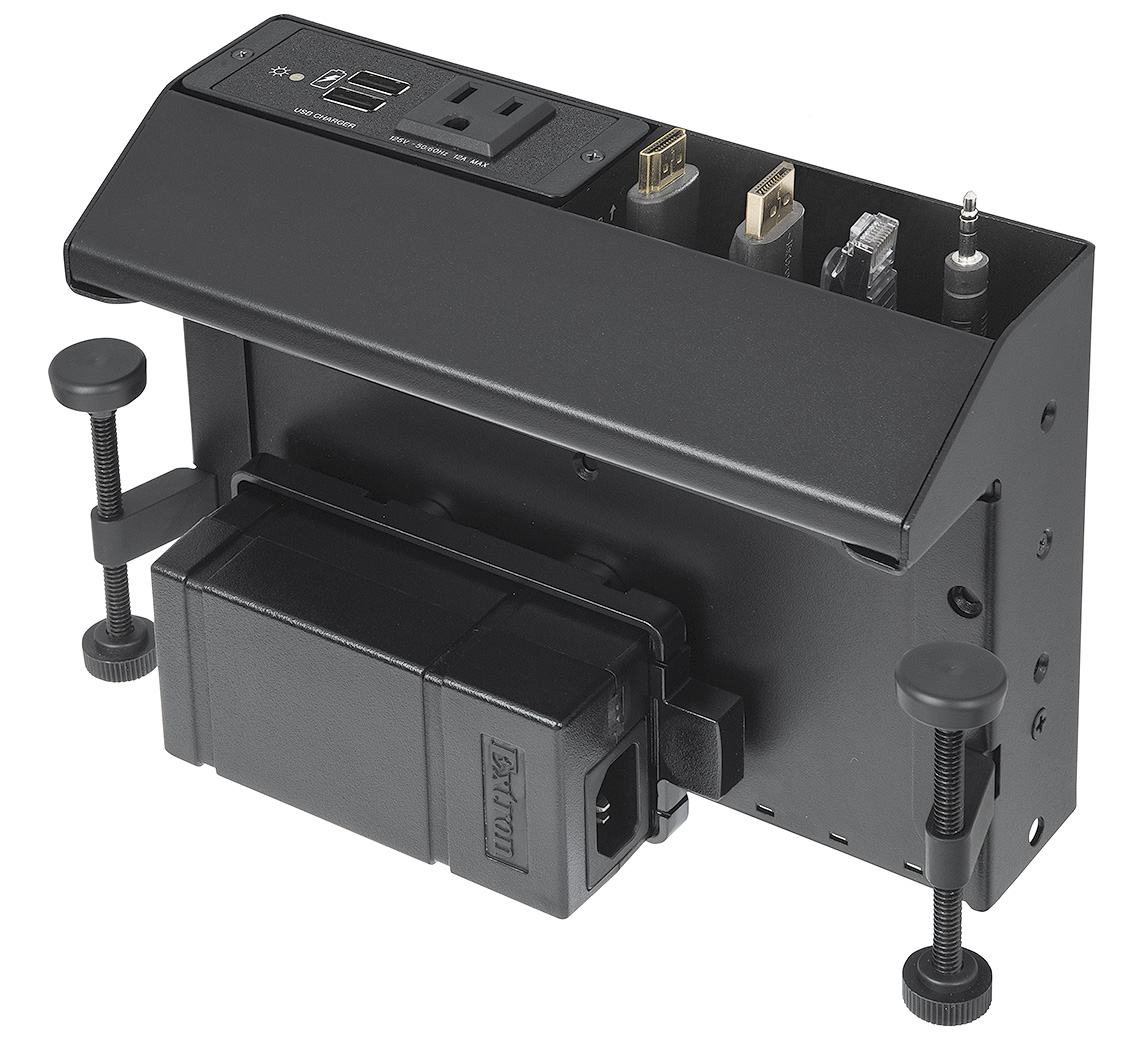 Accommodates two double-space AAP™ AV Connectivity Modules, Cable Pass-Through Brackets for up to eight AV cables, or three Retractor cable retraction modules
