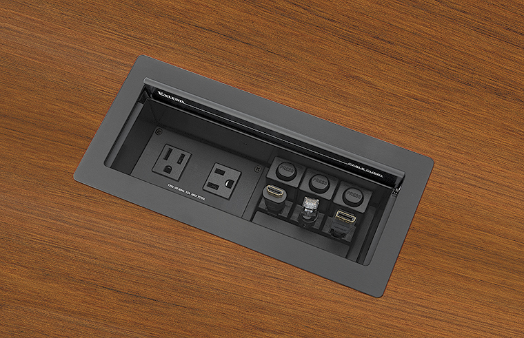 Cable Cubby 1202 accommodates one AC or AC+USB power module, plus three Retractor modules, eight AV cables, or three AAP™ AV Connectivity Modules