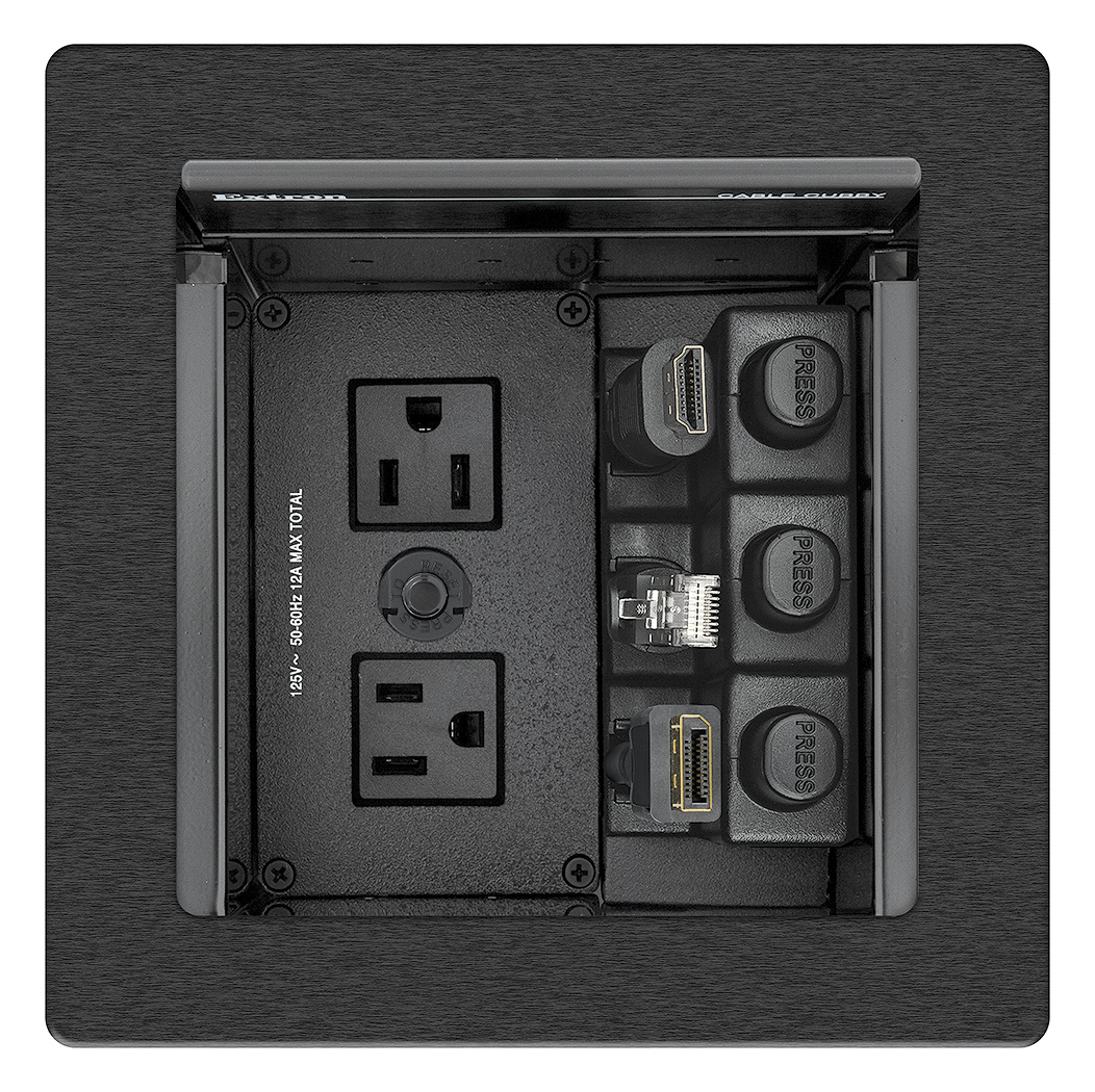 Cable Cubby 500 US AC features AC 104 US module which includes an attached power cord, two 2' US AC cables, and a 12A reset button
