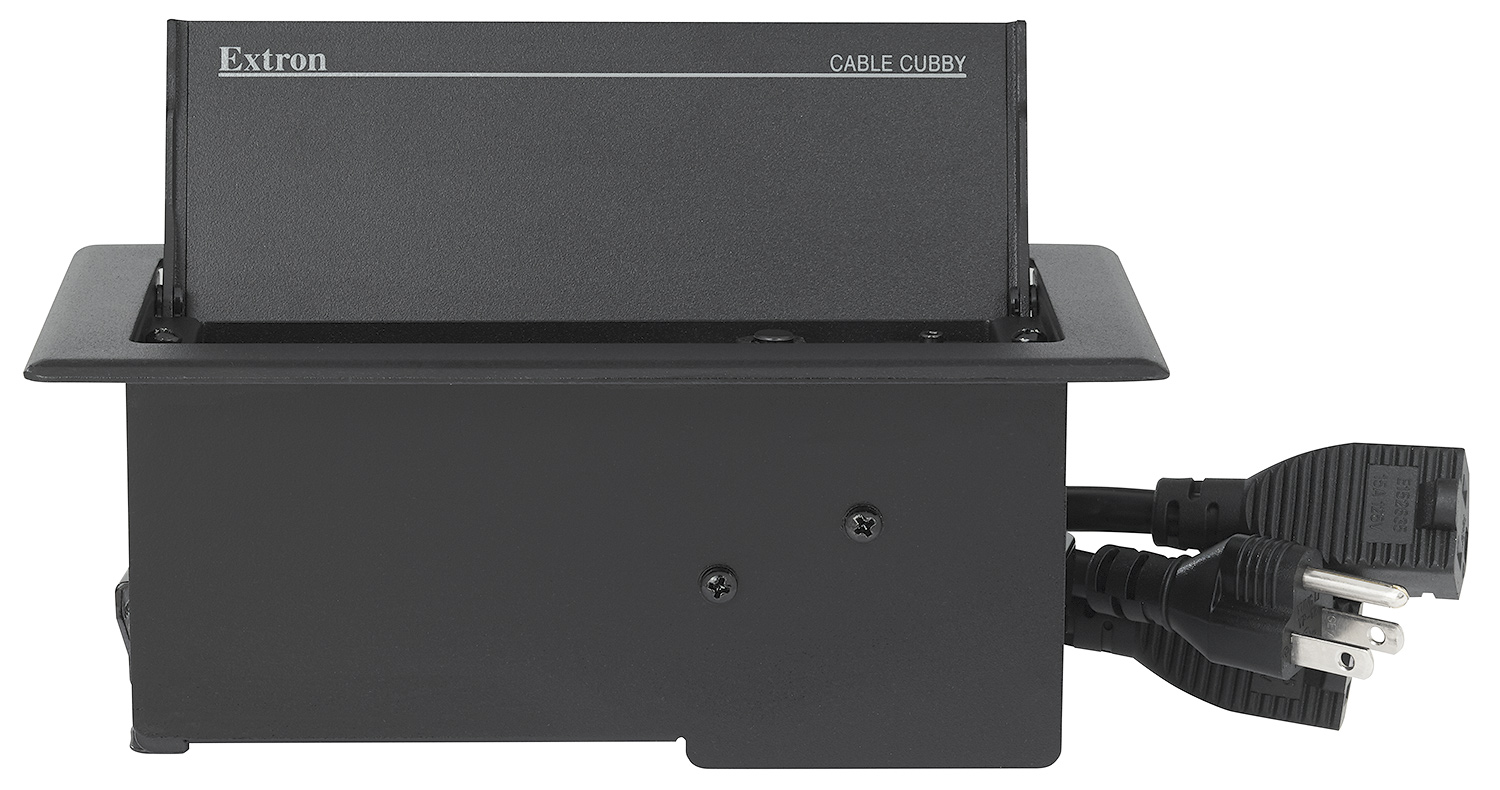 Cable Cubby 222 US features an attached 9.5' power cord and two outlets, each on a 2' cord, for powering optional AV equipment and other devices