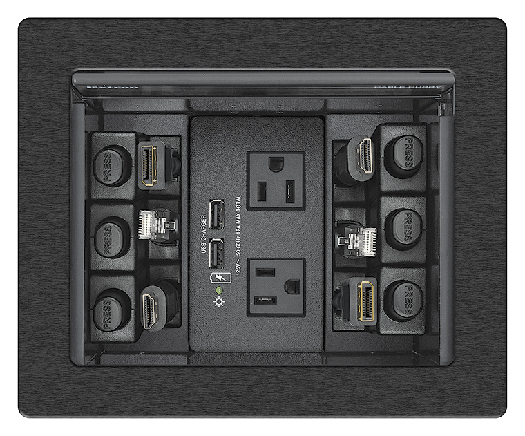 Cable Cubby 700 accommodates one AC or AC+USB power module, plus six Retractor modules, eight AV cables, or four AAP™ AV Connectivity Modules