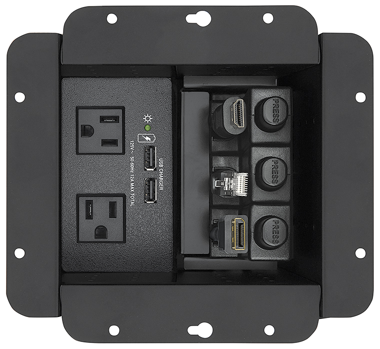 Cable Cubby 650 UT accommodates AC or AC+USB power module, plus up to three Retractor modules, eight AV cables, and/or three AAP™ AV Connectivity Modules