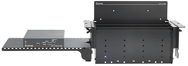 PMK 155 Mounting Kit allows installation of up to half-rack width products, such as an HC 404 Meeting Space Collaboration System transmitter, to the enclosure