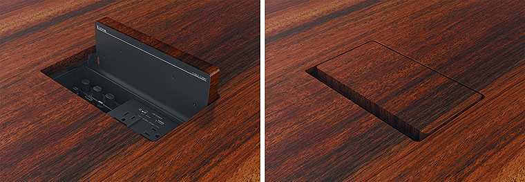 Integrated lid serves as a mounting base for wood, stone, or other surface-matching material