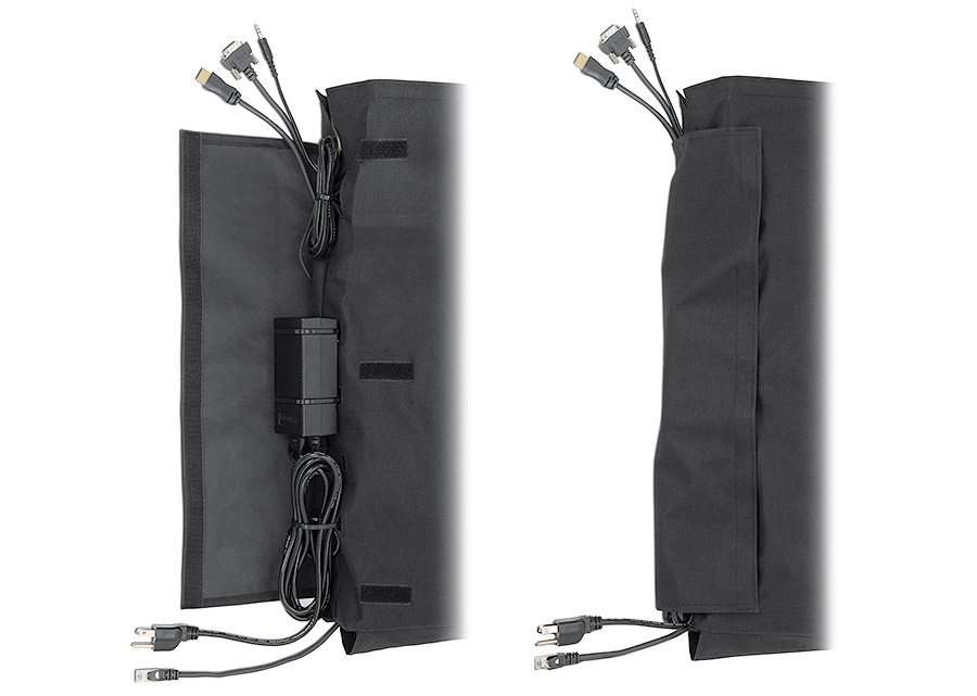 CableCover Small and Large feature a covered exterior channel with tie-down openings for cables and Extron PS Series power supply