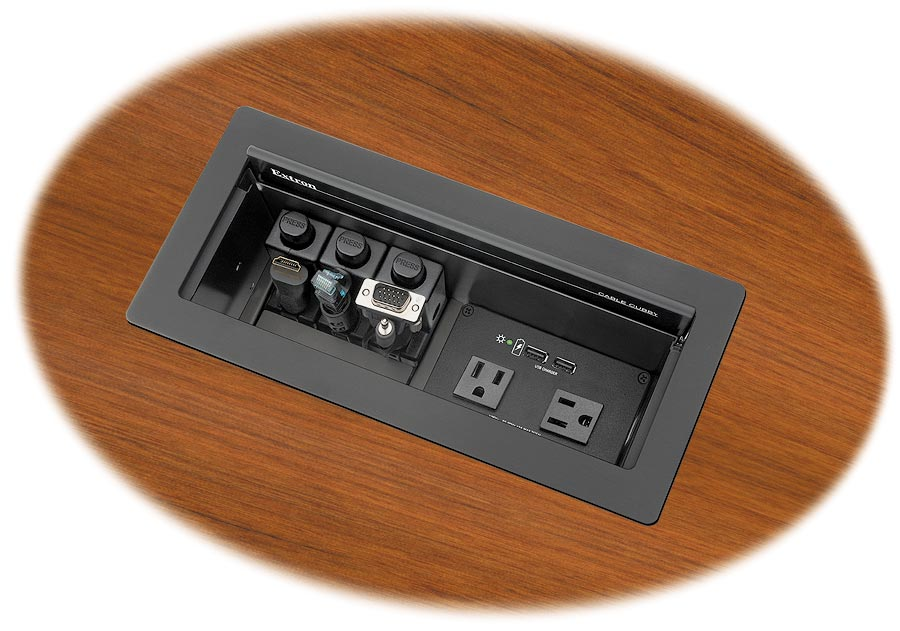 Cable Cubby 1200 shown with optional AC+USB 222 US Power Module and Retractors