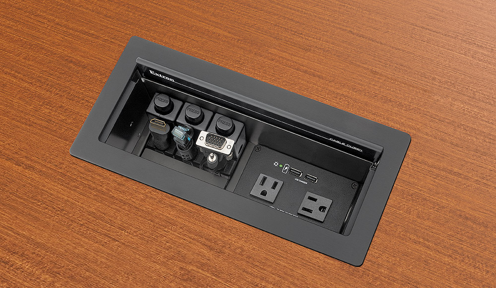 Cable Cubby 1202 shown with optional AC+USB 224 US Power Module and Retractors