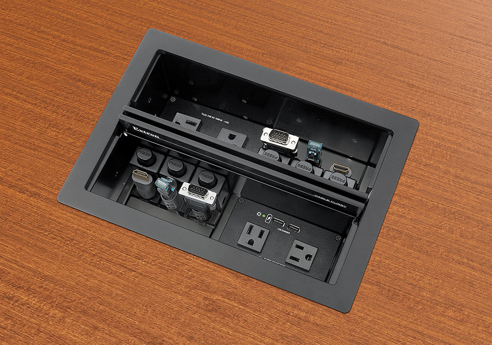 Cable Cubby 1402 shown with AC+USB 224 US Power Modules and optional Retractors