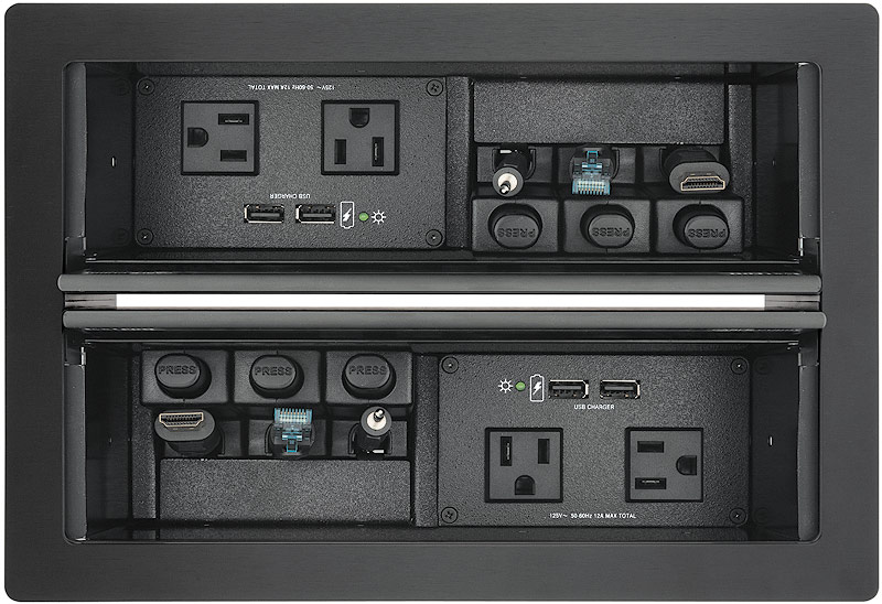 Cable Cubby 1402 shown with optional AC+USB 224 US Power Modules and Retractors