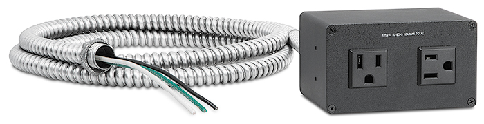 US conduit model features an attached flexible conduit with a pigtail of three-wire cable