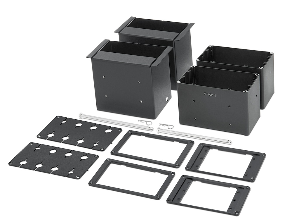 Included brackets accommodate three Retractors, eight AV cables, or three AAP- Architectural Adapter Plates, per side