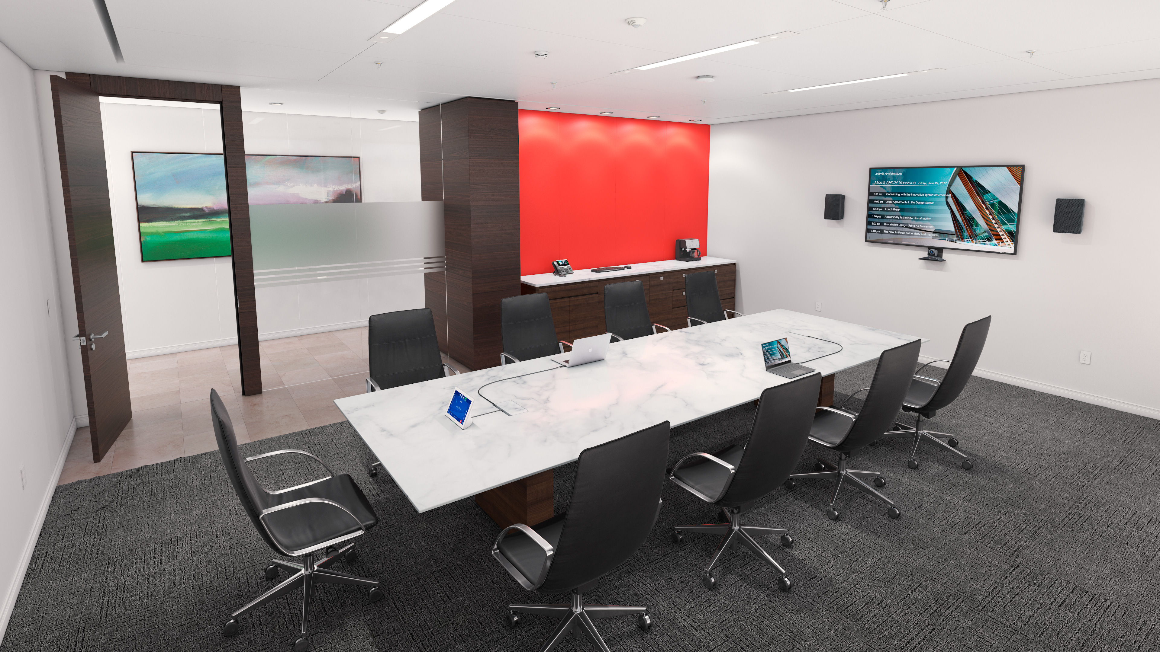 Cable Cubby 1252 MS creates a transition-free, nearly invisible appearance when closed, complementing any high end boardroom or meeting room furniture