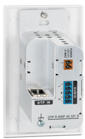 "DTP R HWP 4K 331 D White - Angled Back View <p class=""text-error small-text"">Extron XTP DTP 24 shielded twisted pair cable is strongly recommended</p>"