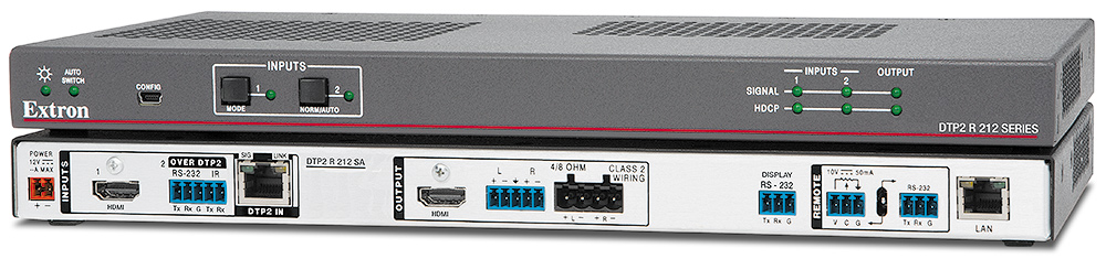 "DTP2 R 212 SA - HDMI 4K/60 Receiver / Switcher with Integrated Stereo Amplifier<br /><SPAN class=""text-error display-block"">Extron XTP DTP 24 shielded twisted pair cable is strongly recommended</SPAN>"