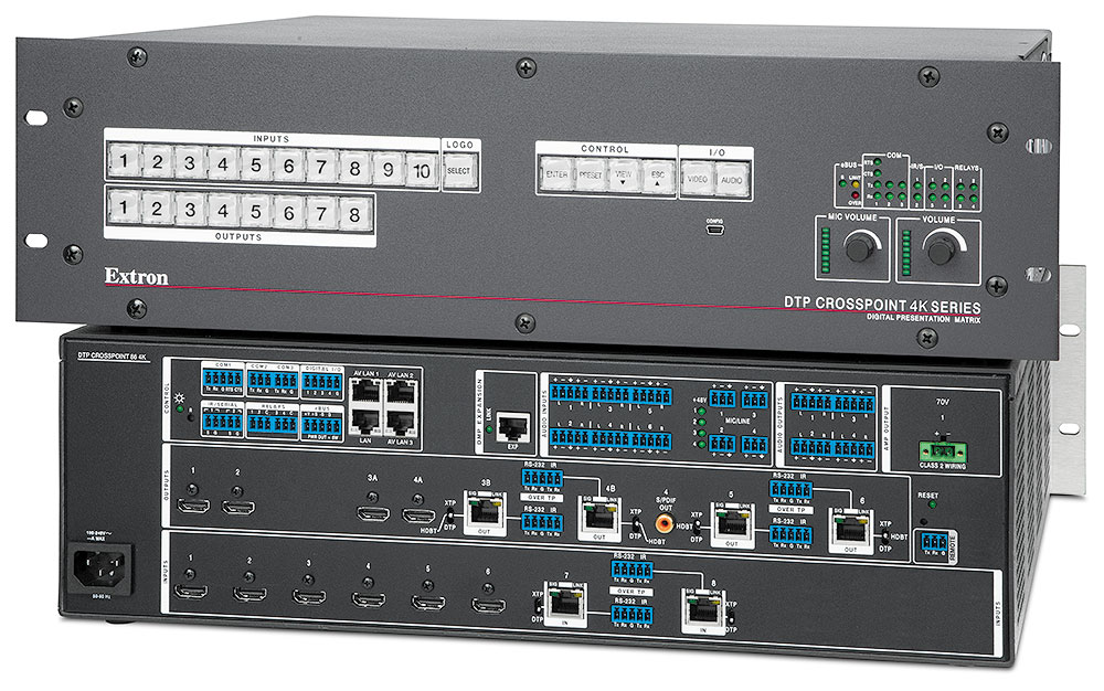 DTP CrossPoint 86 4K IPCP MA 70 – with Control Processor and 100 Watt 70 V Mono Power Amplifier