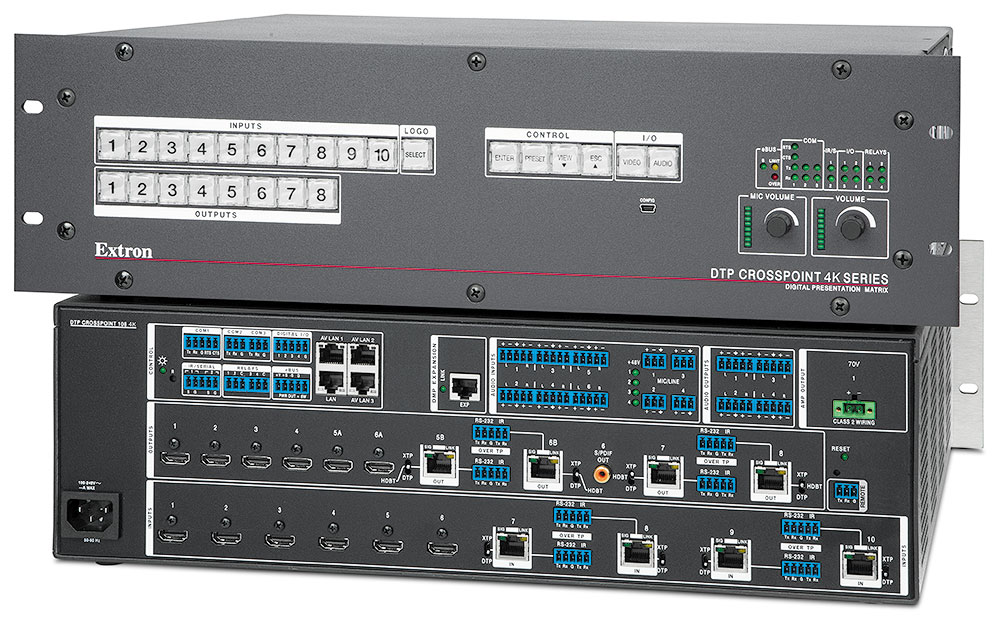 DTP CrossPoint 108 4K IPCP MA 70 - with Control Processor and 100 Watt 70 V Mono Power Amplifier
