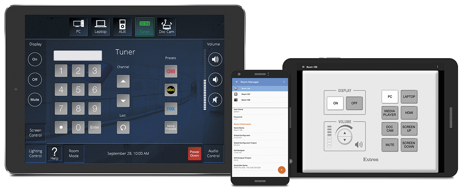 Extron Control for iOS and Extron Control for Android