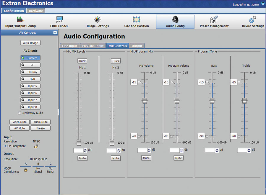 Audio Configuration Web Page