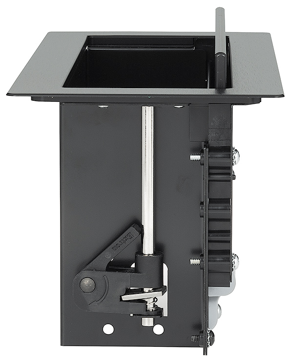Integrated side clamps secure enclosure to the furniture surface without additional hardware or tools