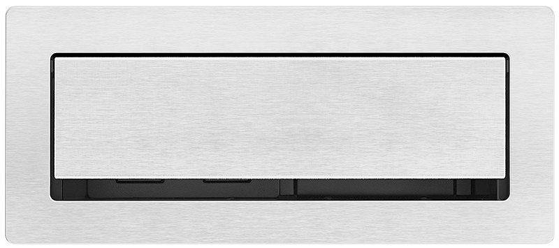 Low-profile lid and full-width cable pass-through for convenient access to AV and power in brushed aluminum finish