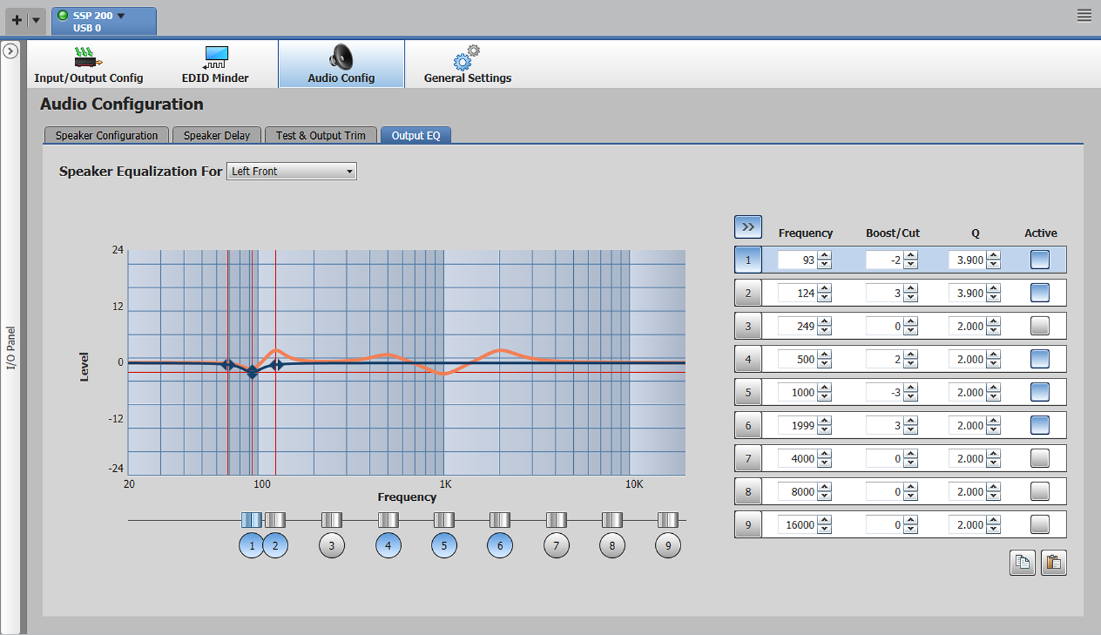 Nine band parametric EQ per speaker channel