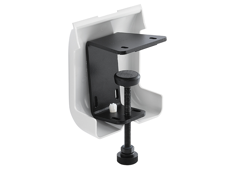 Table Clamp Kit provides an alternate table edge mounting option and cable management method available in white; Part # 70-1160-13