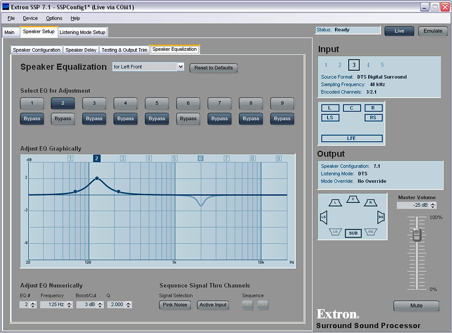 SSP 7.1 Setup and Control Software:  7 Channel, 9 Band Parametric EQ