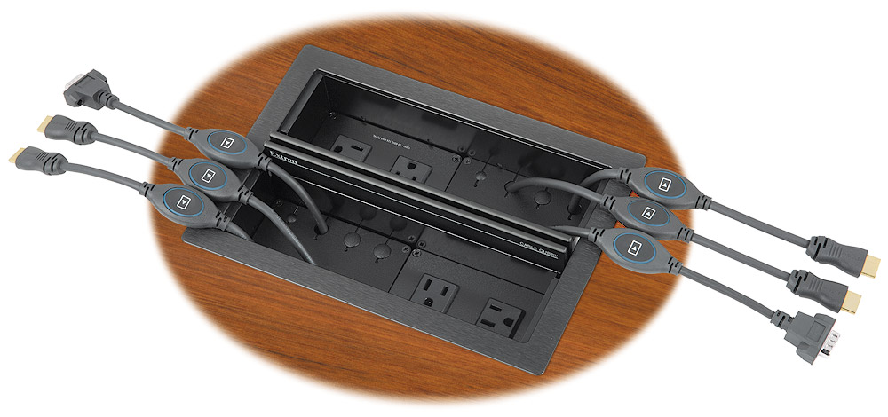 "The included Cable Cubby 1400 supports two AC power modules and up to six ""Show Me"" cables"
