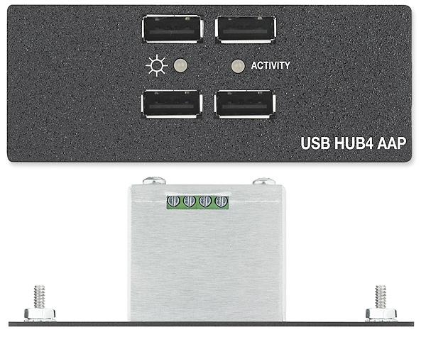 USB HUB4 AAP - Front & Top Views