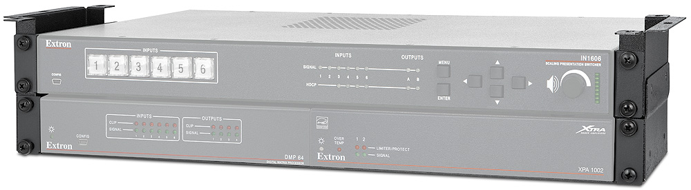 Compact, self-supporting under table mounting system for 1U and 2U full rack width products; sold separately