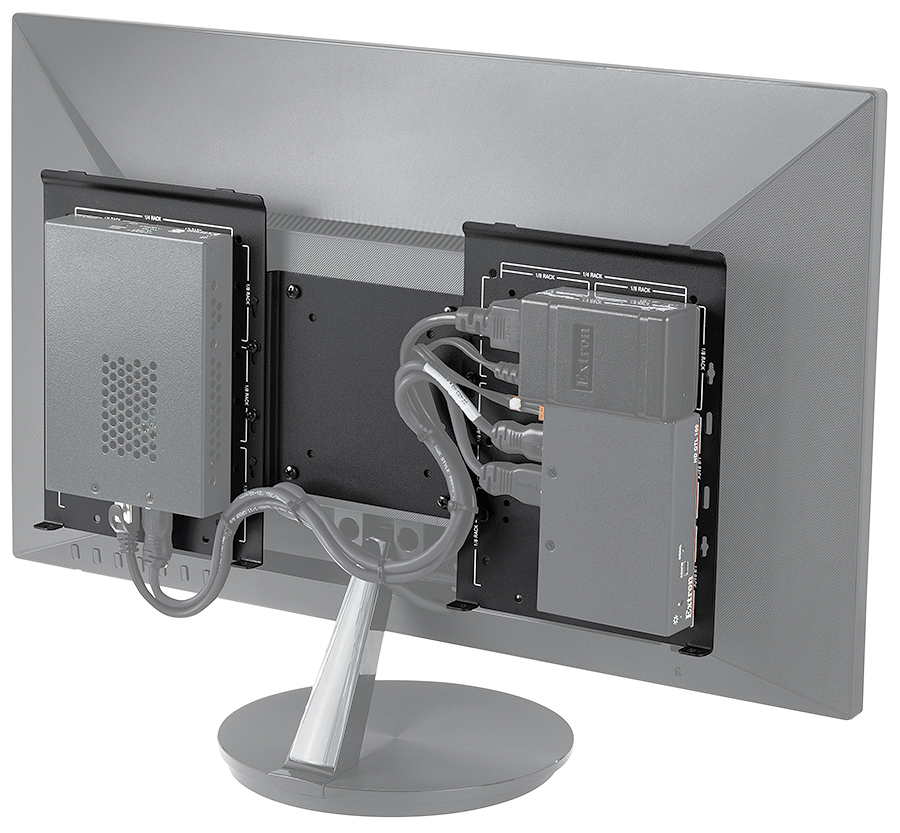 Product base plate features openings for convenient cable management