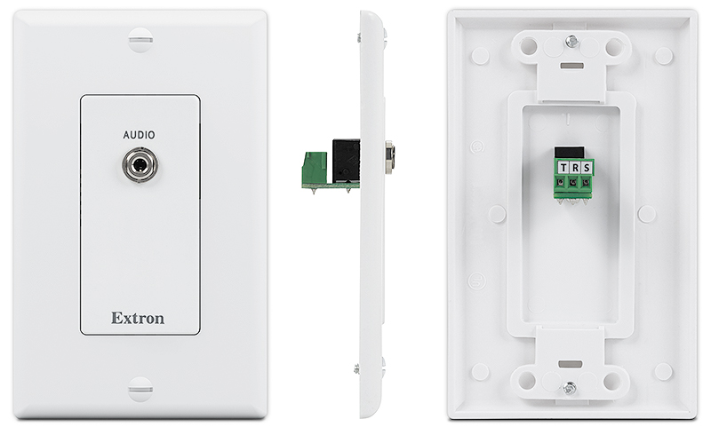 All WPD 100 Audio Series wallplates include a captive screw connector on back for easy wiring. The WPD 101 3.5 mm features one 3.5 mm audio connector and is available in white.