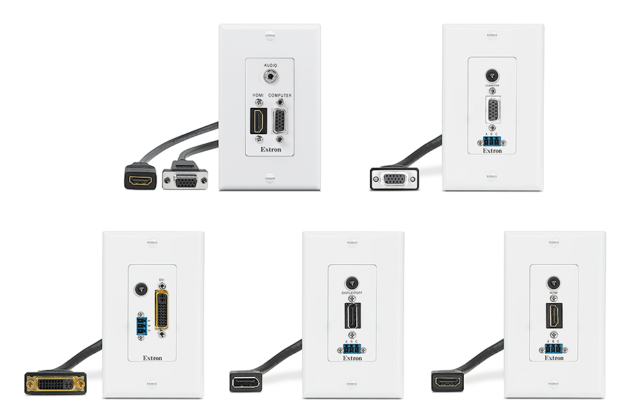 WPD AV Control Series are available with HDMI, DisplayPort, DVI, or VGA with 3.5 mm audio and/or control ports on a single-gang decorator-style wallplate