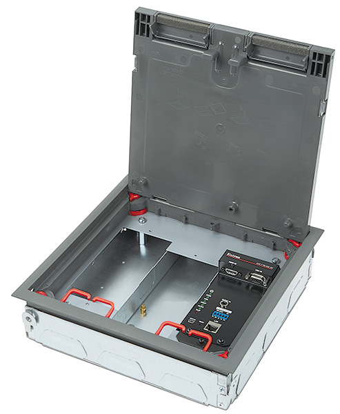 "XTP T FB 202 4K<p class=""small-text"">Shown in Ackermann / MK Electric CableLink Plus Single Pan floor box assembly</p>"