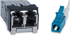 Figure 4: LC style connector dual receptacle and single male plug.