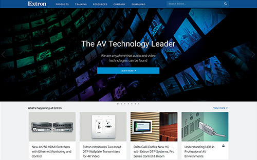 Updated Extron Website Features Powerful New Functionality and Faster Performance