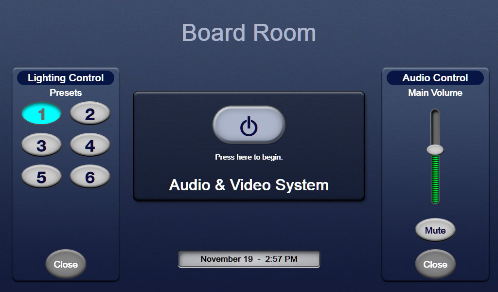 Speed template audio and video system screen