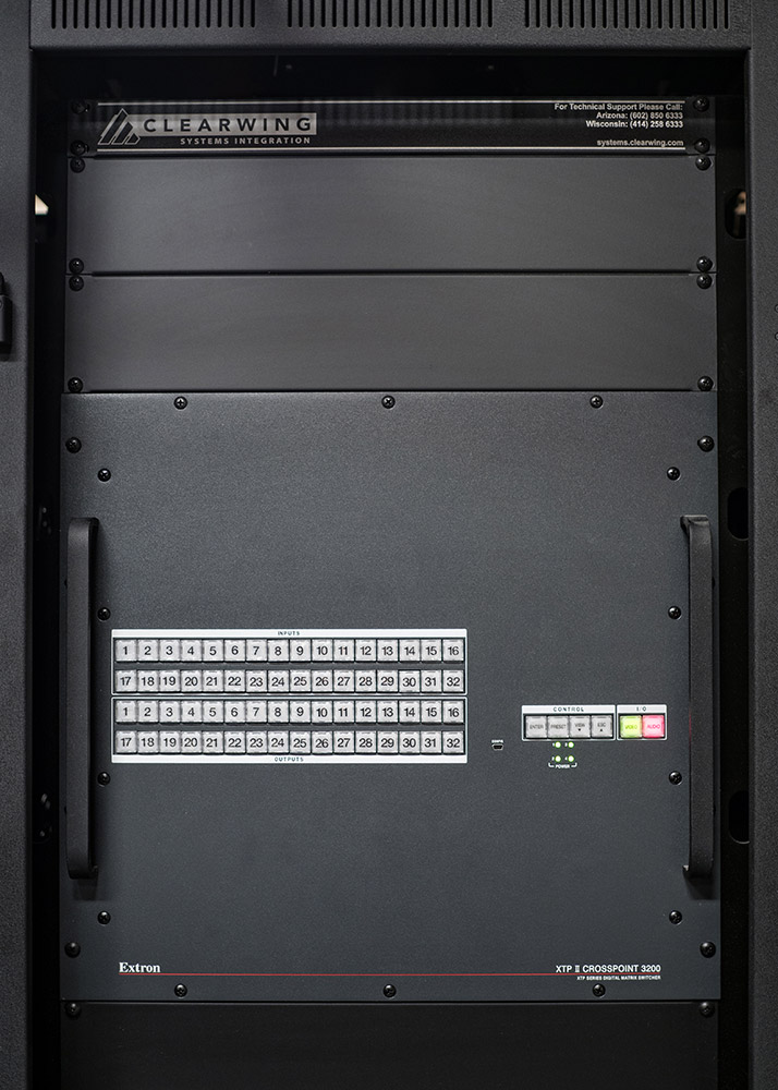 An Extron XTP II CrossPoint 3200 modular matrix switcher accepts and converts 3D-SDI source video for routing, along with audio and control signals, over the Ark's fiber optic cable infrastructure.