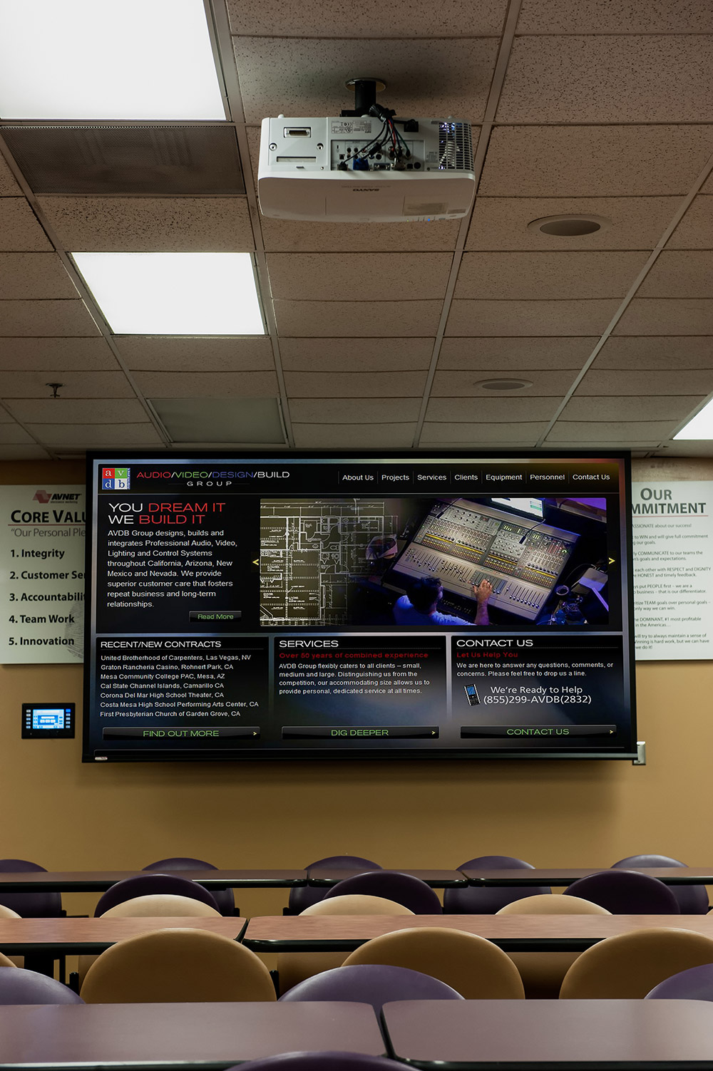 A TouchLink touchpanel is used to select inputs for presentations during company events and <nobr>all-hands</nobr> meetings in the café.