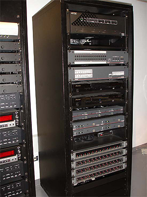 Equipment Rack with Extron Matrix Switchers and Twisted Pair Extenders