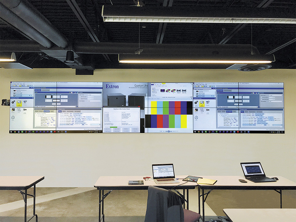 A 6x2 videowall in the main lab area