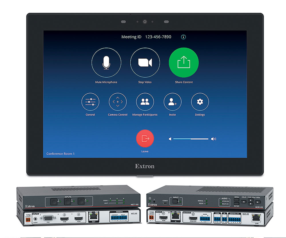 The HC 404 with Zoom meeting collaboration system provides the familiar Zoom user interface and control of the AV system.